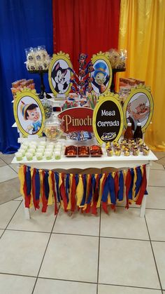 Mesa de botana y dulces Pinocchio, Martin S, Ideas Para Fiestas, 2nd Birthday Parties, Confetti, Birthday Candles, Baby Boy, Baby Shower, Party Ideas