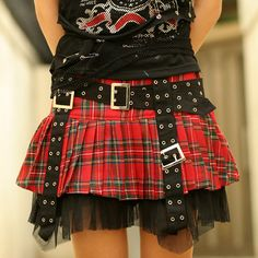 Punk Fashion for Girls | Red Plaid Black Goth Punk Rock Clothing Pleated Mini Skirt Women SKU ...
