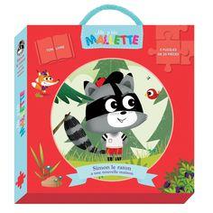 Ma p'tite mallette - Simon le raton laveur -  Référence : 872883 -  Stimule l'imaginaire et favorise la concentration  #Jeux #Jouet #Enfant #Famille #Livre #Puzzle