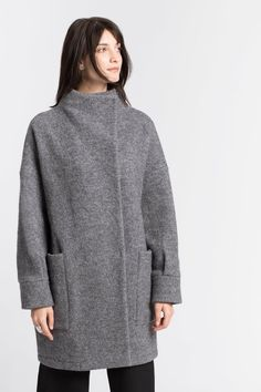 NEW Oversized Wool Coat / Collared Coat / Relaxed Fit Coat / Wool Jacket / Black Coat / Emerson Wool Black Winter Coat, Wool Fabric, High Collar, Ethical Fashion, Wool Coat, Get The Look, Work Wear, Collars, How To Wear