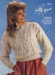 Sampler Pullover Sweater in Panels Vintage Knitting Pattern for download Bust 34-40