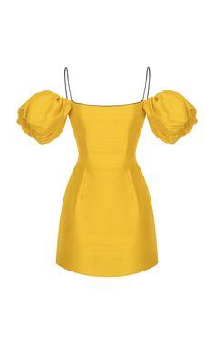 1144cc209c3b Puff-Sleeve Silk Mini Dress by Rasario SS19 Unique Dresses Short, Trendy  Dresses,