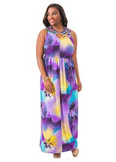 Cage Neck Printed Maxi Dress