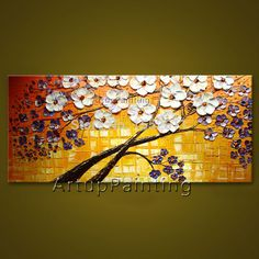 Flower hand-painted wall painting palette knife wild flower abstract oil painting canvas modern room decorates living room 05