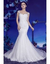 Gorgeous sweetheart pearls sequins beaded lace court train mermaid illusion back wedding dresses 2017 HB-612