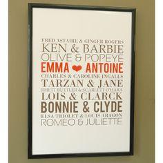 Affiche Saint Valentin Couples mythiques, Bozea, 23,90 €