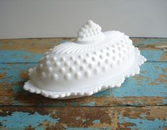 For the kitchen: Vintage Fenton Milk Glass Hobnail Butter Dish ~ Etsy by Up Home