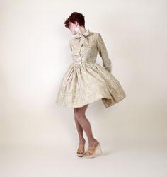 Damask Mini Dress Vintage 1960s 60s Mod by lovethatlingers on Etsy, $76.00