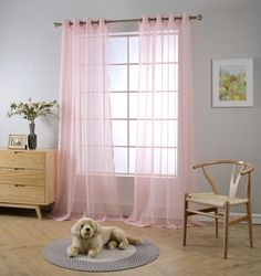 """MIUCO 2 Panels Grommet Textured Solid Sheer Curtains 84 Inches Long for Living Room (2 x 54 Wide x 84"""" Long) Pink"""