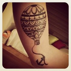 hot-air balloon & anchor tattoo - looks so awesome. Love the detail on the balloon!!!