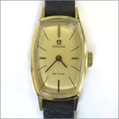 【中古】OMEGA(オメガ) DE VILLE デビル トノー 手巻き GP カーフ レディース ゴールド文字盤時計/小ぶりで上品なオメガの時計です。シーンを選ばずお使いいただけます。/新品同様・極美品・美品の中古ブランド時計を格安で提供いたします。