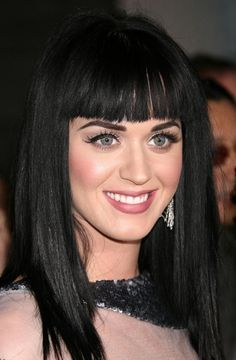 Katy Perry With Blunt Bangs Hairstyle