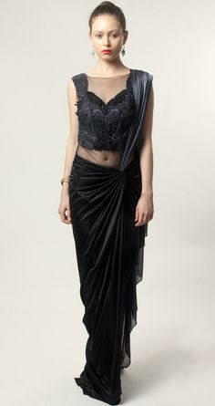 Grey and black pre-draped sari by AMIT AGGARWAL. Shop at http://www.perniaspopupshop.com/lakme-fashion-week/amit-aggarwal/amit-aggarwal-grey-and-black-pre-draped-sari-aalfw0813sa32.html