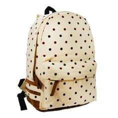 Canvas Rucksack Polka-dot Backpack for Teens - Cream love this bag so much #Poka Dots
