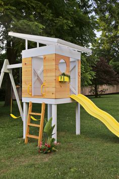 instructions for a kids play set. Big toy for the backyard! Fort, swings, ladder and slide. Gives me an idea for a lifeguard tower style fort. Backyard Playhouse, Build A Playhouse, Backyard Playground, Backyard For Kids, Backyard Fort, Outdoor Playhouses, Modern Playhouse, Playground Set, Modern Backyard