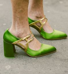 Bright Green Block Heel Shoes With Gold Details // More of The Best Shoes From Streets of New York and Paris Fashion Week: (http://www.racked.com/street-style)