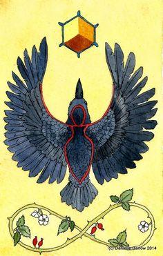 "How how FUNtastic! A Woman Shape inside Crow.....Witchy Corvid Energy....YAY!! ""Celtic Crow totem"" daniellebarlowart"