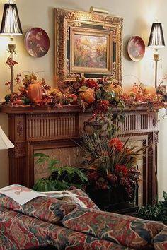 Thanksgiving Decorations, Seasonal Decor, Holiday Decor, Fall Mantel Decorations, Fall Fireplace, Halloween Fireplace, Autumn Decorating, Mantle Decorating, Decorating Ideas