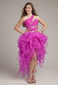 Organza Corkscrew Dress with High Low Hem