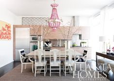 SHELTER  Atlanta Homes and Lifestyles with a eye-popping Currey & Co. chandelier.
