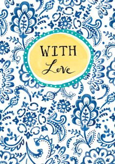 Louise Anglicas - LAS_ Hand Painted Inky Blue Paisley Pattern Birthday Wishes