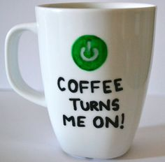 Geeky Naughty Turn Me On Coffee Mug  Coffee Turns by DreamAndCraft, $15.00