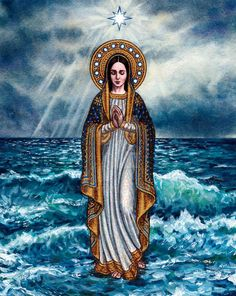 Our Lady Star of the Sea by Theophilia on DeviantArt Praying The Rosary Catholic, Catholic Religion, Catholic Art, Catholic Saints, Roman Catholic, Divine Mother, Blessed Mother Mary, Blessed Virgin Mary, Religious Images