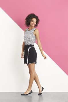 big fan of black and white. I like this whole outfit esp detailing on the skirt