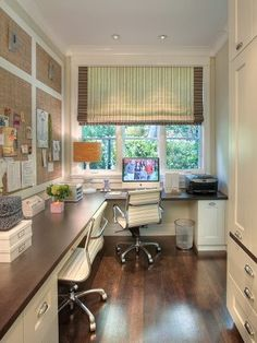 I chose this image because I love the utilization of vertical space. This home office is long and narrow. With ample amounts of storage available by using tall cabinets and cabinetry beneath the desk, this space is functional for two. The natural lighing also helps visually expand space and keeps it from feeling confined.