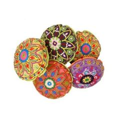 RajRang Decorative Rajasthani Suzani Embroidery Cushion Cover 18 By 18 Inches Set 5 Pcs