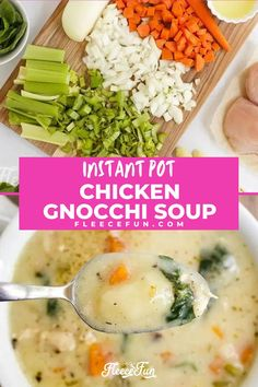 This Instant Pot Chicken Gnocchi Soup is the ultimate in comfort food. This filling and easy to make soup can be made in the Instant Pot. This quick and easy soup is perfect for a weeknight meal. This simple recipe will become a family favorite for dinner. Gnocchi Spinach, Chicken Gnocchi Soup, Weeknight Meals, Easy Meals, Quick And Easy Soup, Warm Food, Easy Soup Recipes, Boneless Chicken Breast, Fleece Projects