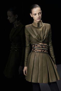 Sweeeet! Balmain leather skirt 2014. Love the outfit.
