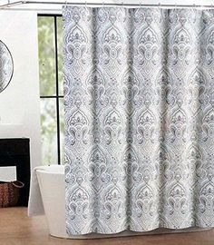 Garden Paisley Blue Grey Shower Curtain