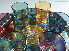 Your place to buy and sell all things handmade Retro Party, Shot Glasses, Punch Bowls, Tray, Drinks, Handmade, Stuff To Buy, Vintage, Drinking