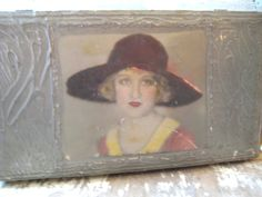 1920's wood glove box. Flapper girl on by MysteryMisterAntique