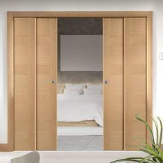Quad Telescopic Pocket Oak Monaco Oak Veneer Doors   Prefinished