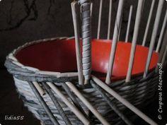 Мастер-класс Поделка изделие Плетение ручка для корзины Трубочки бумажные фото 15