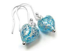 Murano Glass Tiny Heart Earrings - Aqua and White Gold Murano Glass Beads, Tiny Heart, Heart Earrings, Sterling Silver Earrings, Aqua, White Gold, Heart Pendants, Water