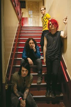 """Photoshoot by Neil Krug: My Chemical Romance's CD liner and other promotional materials for """"Danger Days: The True Lives of the Fabulous Killjoys"""". Frank Iero, Ray Toro, Mikey Way, Gerard Way."""