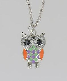 Purple & Orange Owl Necklace