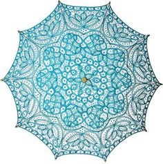 Parasol's for a spring or summer weedding. Turquoise Blue Cotton Lace Parasol