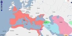 ➯ Ver en Pinterest: #95 #Mapa de Europa, Oriente Medio y África del Norte, Año 100.  Fuente: geacron.com