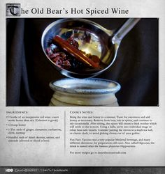 """Modern if you are throwing a party, medieval if you are planning to walk The Wall at night."" MORE RECIPES: http://itsh.bo/LQC1sC #gameofthrones #food #wine #recipes"