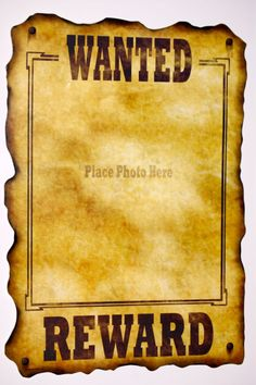 Image detail for -Western Wanted Sign - Cowboy Party - Kids Party Themes - Kids Party ...