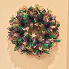 Mardi Gras Wreath, fleur de lis wreath, Fat Tuesday, purple green and gold