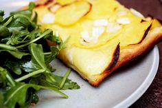 Potatoes on pizza? Why not?! Side with a bright arugula salad. (Winter)