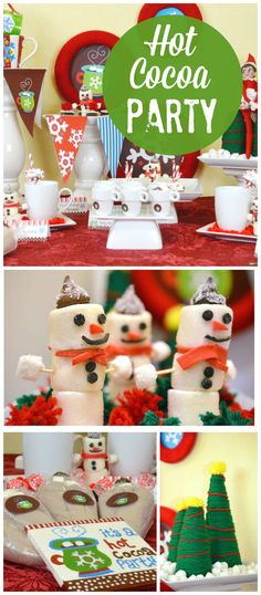 A hot cocoa party with cute marshmallow snowmen and festive holiday decorations! See more party planning ideas at CatchMyParty.com!