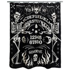 Skeleton Ouija Board Shower Curtain from Too Fast Clothing (Shower Curtains). Made by Too Fast Clothing Soft, lightweight fabric shower curtain. Skull Shower Curtain, Fabric Shower Curtains, Halloween Shower Curtain, Halloween Bathroom, Future House, Goth Home Decor, Celtic, Horror Decor, Gothic House