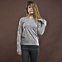 Women's Luxury Basic Gray Classic T-shirt With by BasicsClothing