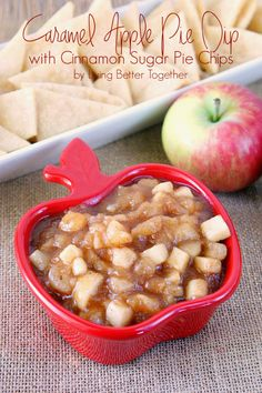 Caramel Apple Pie Dip with Cinnamon Sugar Pie Chips